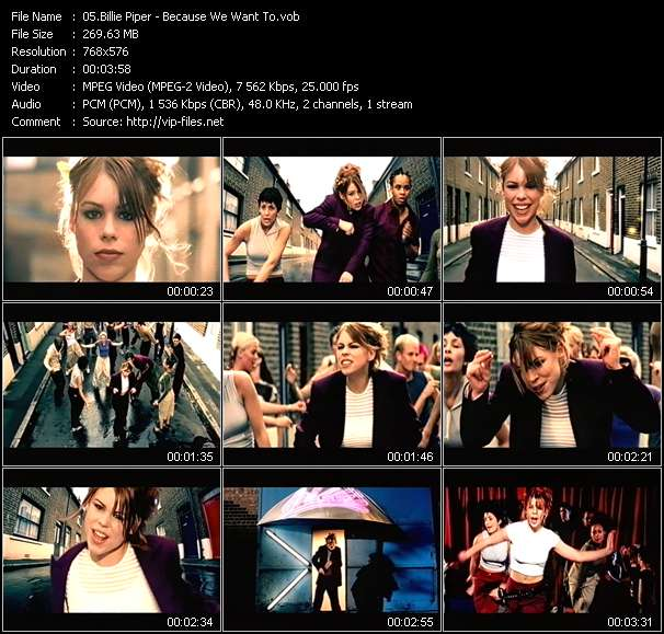 Screenshot of Music Video Billie Piper - Because We Want To