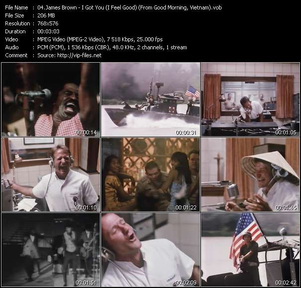 "Screenshot of Music Video James Brown - I Got You (I Feel Good) (From ""Good Morning, Vietnam"")"