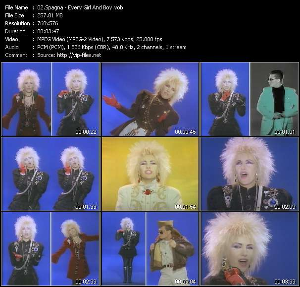 Screenshot of Music Video Spagna - Every Girl And Boy