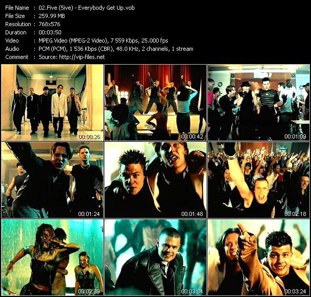 Screenshot of Music Video Five (5ive) - Everybody Get Up