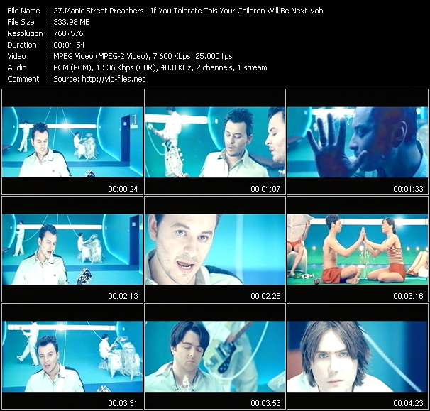Screenshot of Music Video Manic Street Preachers - If You Tolerate This Your Children Will Be Next