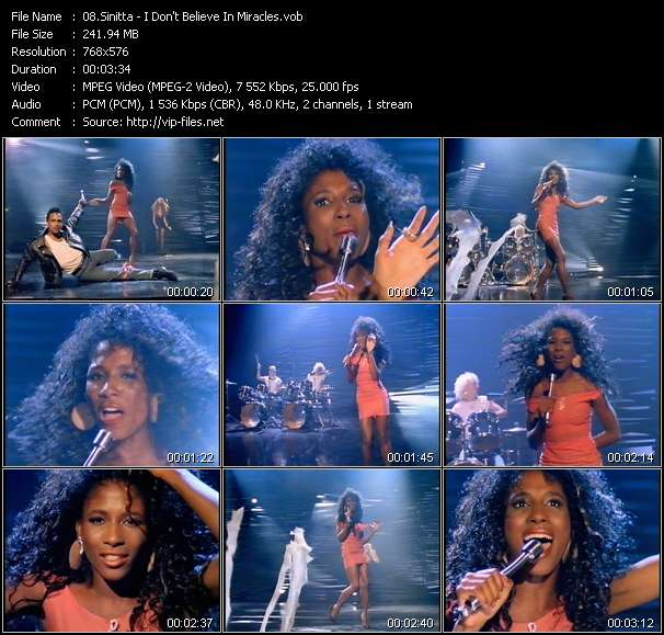 Screenshot of Music Video Sinitta - I Don't Believe In Miracles