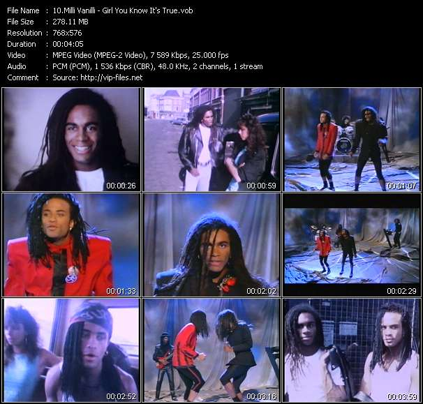 Screenshot of Music Video Milli Vanilli - Girl You Know It's True