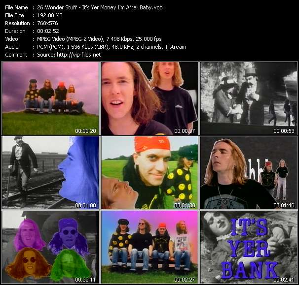 Screenshot of Music Video Wonder Stuff - It's Yer Money I'm After Baby