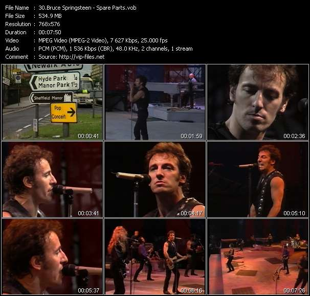 Screenshot of Music Video Bruce Springsteen - Spare Parts