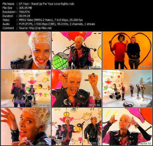 Screenshot of Music Video Yazz - Stand Up For Your Love Rights
