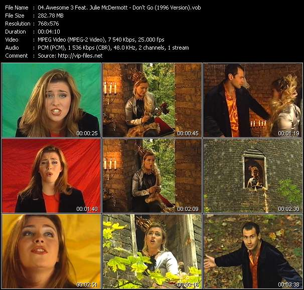Screenshot of Music Video Awesome 3 Feat. Julie McDermott - Don't Go (1996 Version)