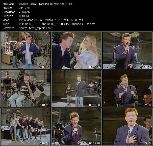 Screenshot of Music Video Rick Astley - Take Me To Your Heart