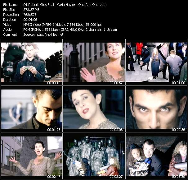 Screenshot of Music Video Robert Miles Feat. Maria Nayler - One And One