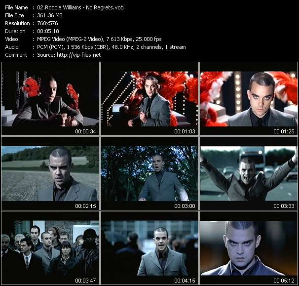 Screenshot of Music Video Robbie Williams - No Regrets