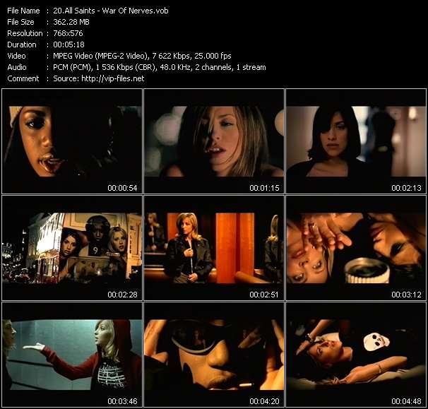 Screenshot of Music Video All Saints - War Of Nerves
