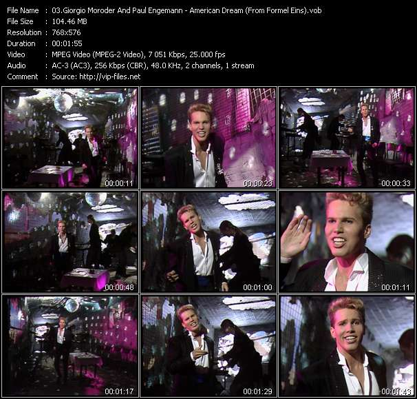 Screenshot of Music Video Giorgio Moroder And Paul Engemann - American Dream (From Formel Eins)