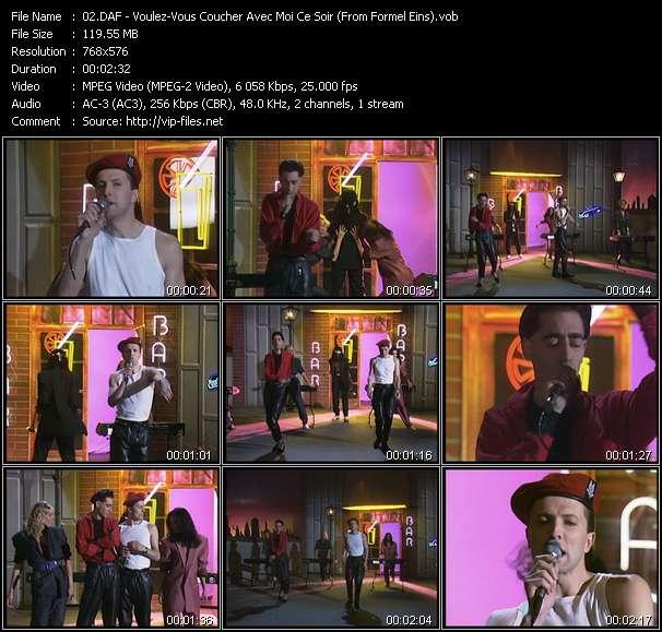 Screenshot of Music Video DAF (Deutsch Amerikanische Freundschaft) - Voulez-Vous Coucher Avec Moi Ce Soir (From Formel Eins)