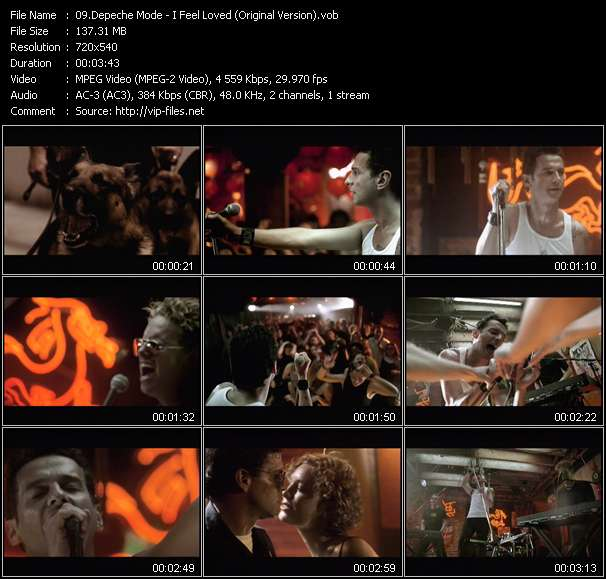 Screenshot of Music Video Depeche Mode - I Feel Loved (Original Version)