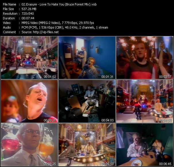 Screenshot of Music Video Erasure - Love To Hate You (Bruce Forest Mix)
