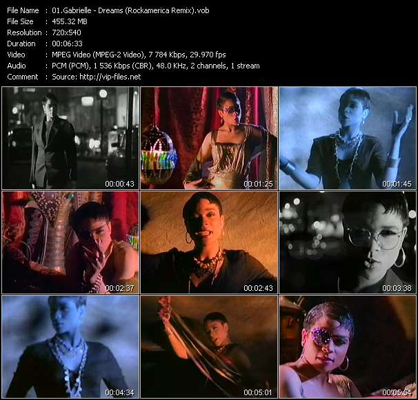 Screenshot of Music Video Gabrielle - Dreams (Rockamerica Remix)