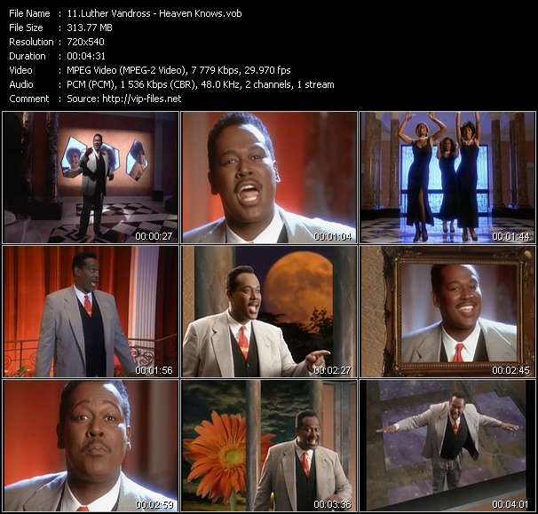 Screenshot of Music Video Luther Vandross - Heaven Knows