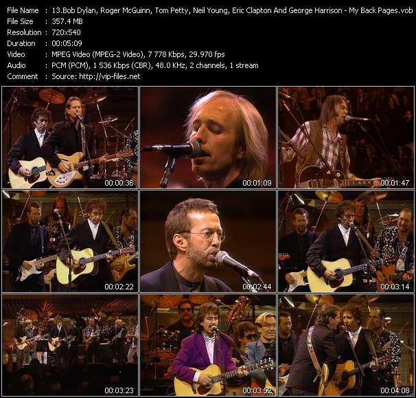 Screenshot of Music Video Bob Dylan, Roger McGuinn, Tom Petty, Neil Young, Eric Clapton And George Harrison - My Back Pages (From The 30th Anniversary Concert Celebration)