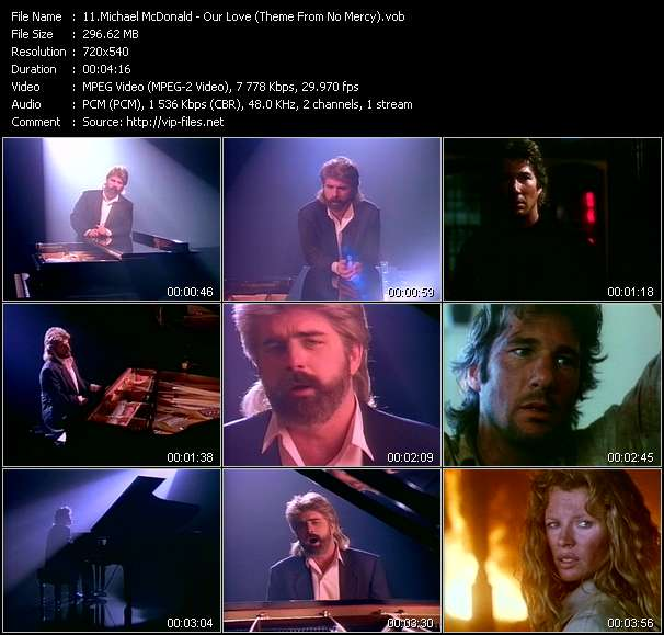 """Screenshot of Music Video Michael McDonald - Our Love (Theme From """"No Mercy"""")"""