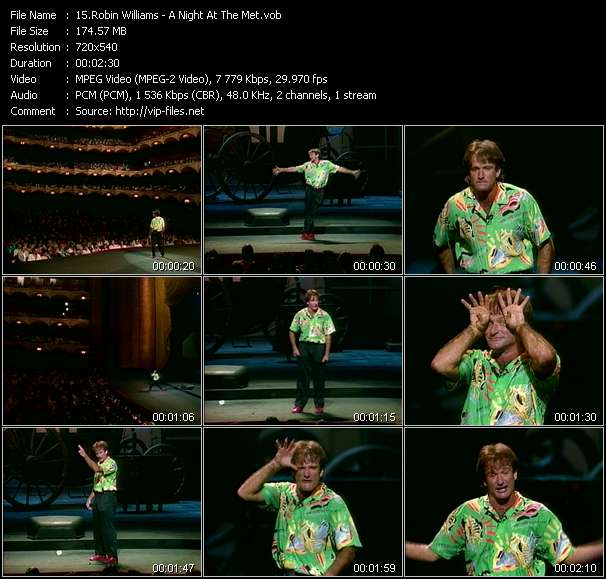 Screenshot of Music Video Robin Williams - A Night At The Met