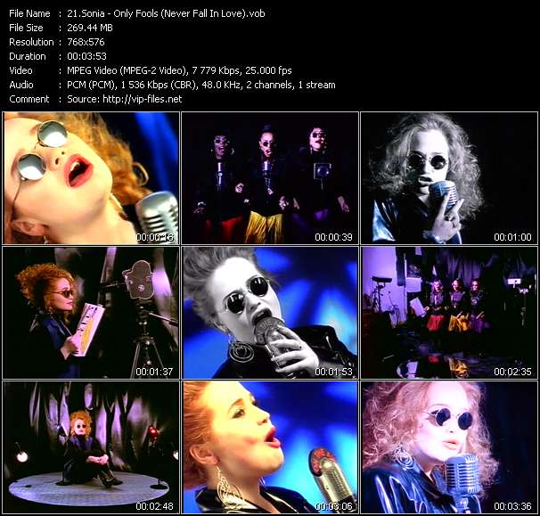 Screenshot of Music Video Sonia - Only Fools (Never Fall In Love)