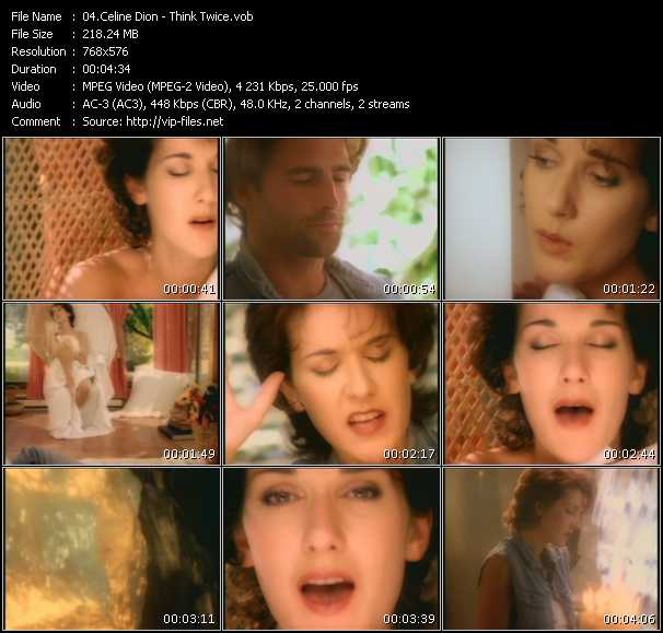 Screenshot of Music Video Celine Dion - Think Twice