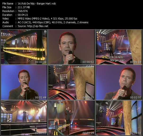 Screenshot of Music Video Rob De Nijs - Banger Hart