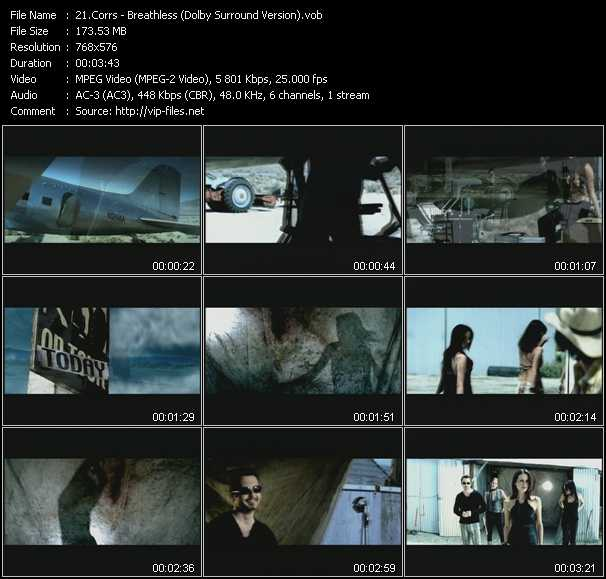 Screenshot of Music Video Corrs - Breathless (Dolby Surround Version)