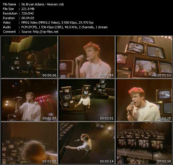 Screenshot of Music Video B. Adams - Heaven