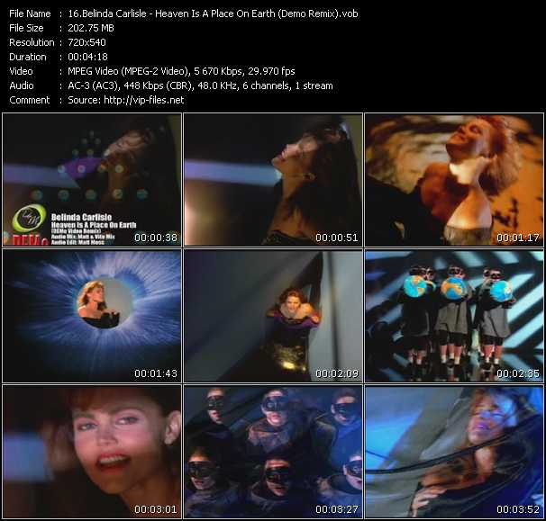 Screenshot of Music Video Belinda Carlisle - Heaven Is A Place On Earth (Demo Remix)