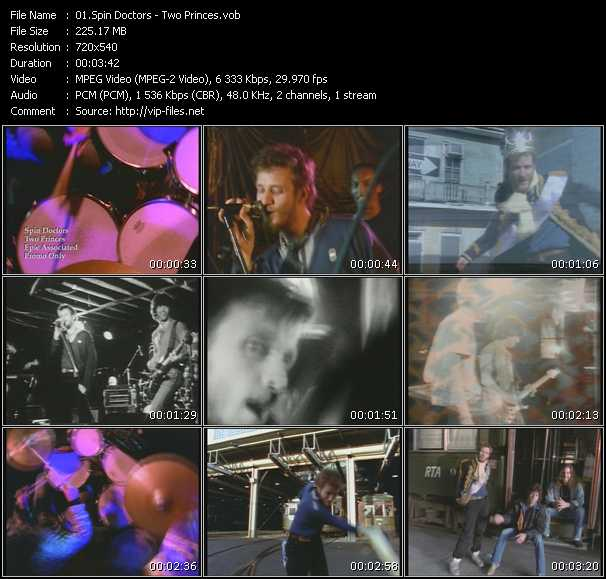 Screenshot of Music Video Spin Doctors - Two Princes