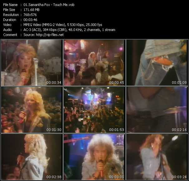 Screenshot of Music Video Samantha Fox - Touch Me
