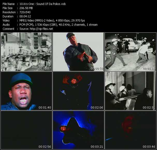 Screenshot of Music Video Krs-One - Sound Of Da Police