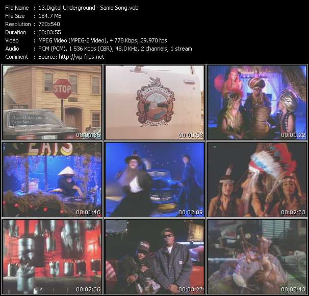 Screenshot of Music Video Digital Underground - Same Song