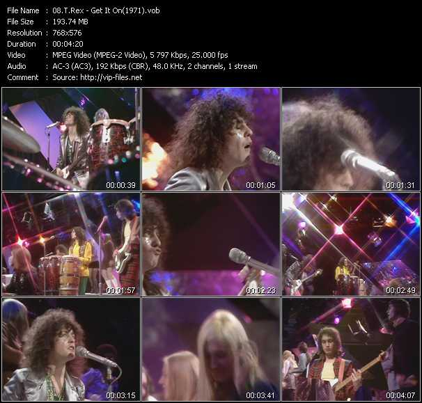 Screenshot of Music Video T. Rex - Get It On (From Top Of The Pops 1971)