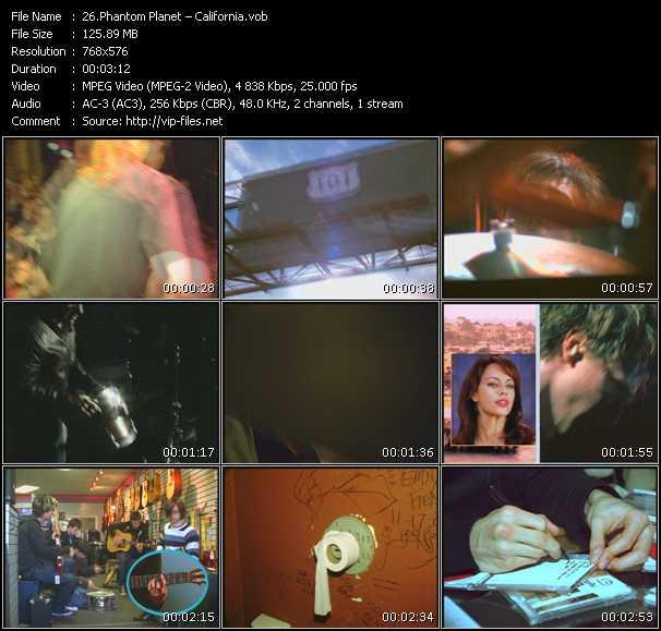 Screenshot of Music Video Phantom Planet - California