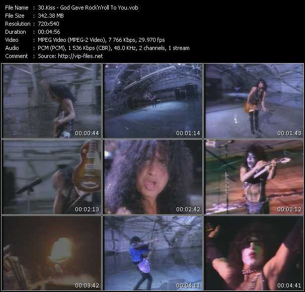 Screenshot of Music Video Kiss - God Gave Rock 'N' Roll To You