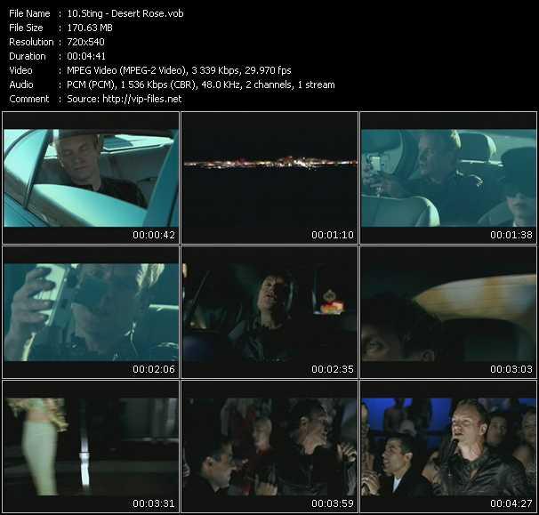 Screenshot of Music Video Sting - Desert Rose