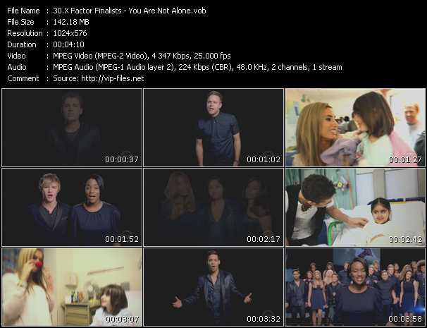 Screenshot of Music Video X-Factor Finalists - You Are Not Alone