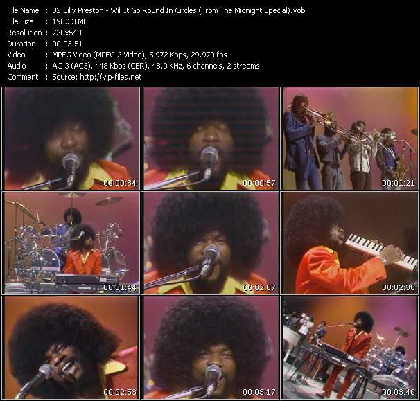Screenshot of Music Video Billy Preston - Will It Go Round In Circles (From The Midnight Special)