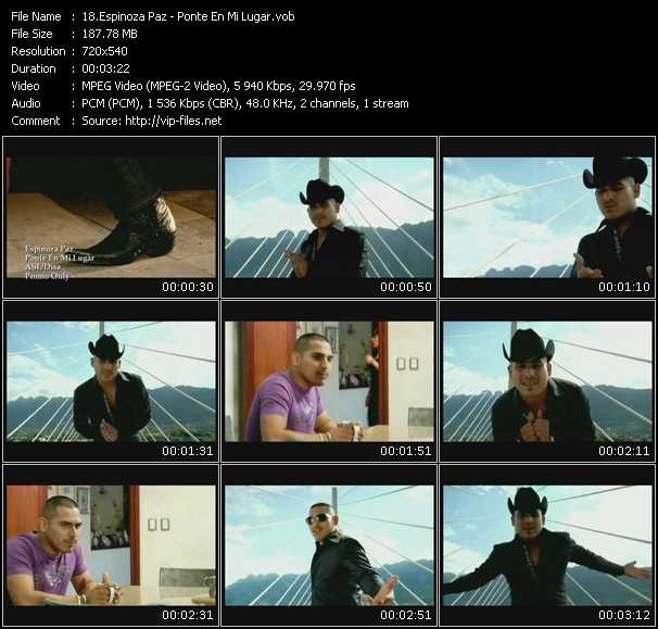 Screenshot of Music Video Espinoza Paz - Ponte En Mi Lugar