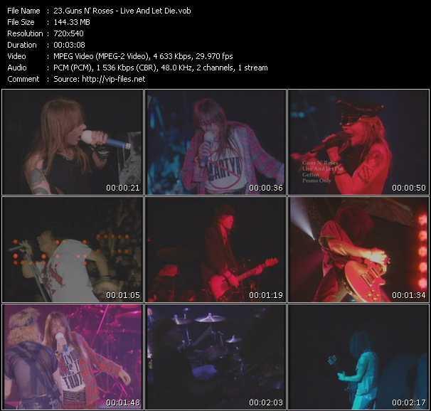 Screenshot of Music Video Guns N' Roses - Live And Let Die