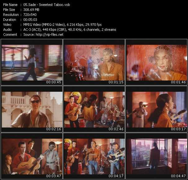 Sade - Sweetest Taboo - Download HQ music Video VOB of Sade