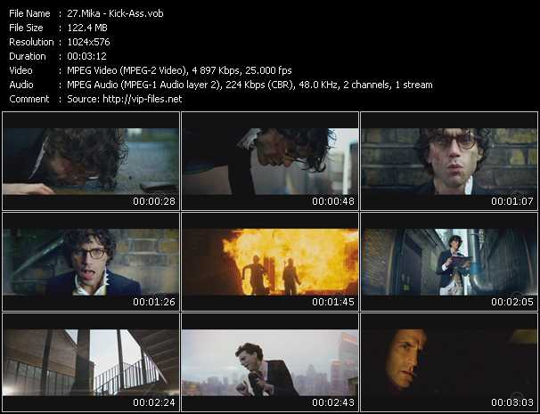 Screenshot of Music Video Mika - Kick-Ass