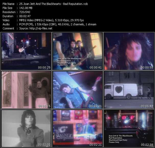 Screenshot of Music Video Joan Jett And The Blackhearts - Bad Reputation