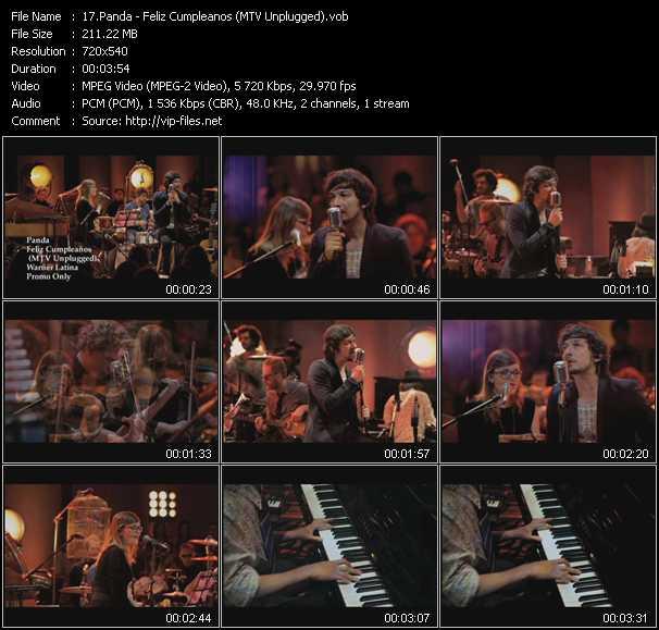 Screenshot of Music Video Panda - Feliz Cumpleanos (MTV Unplugged)