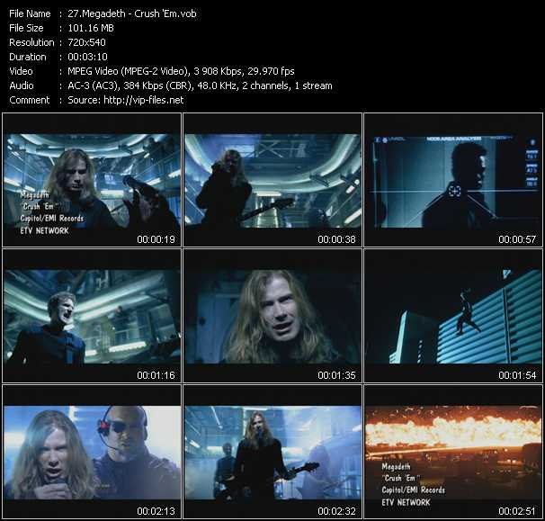 Megadeth clips musicaux vob