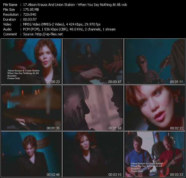 Screenshot of Music Video Alison Krauss And Union Station - When You Say Nothing At All