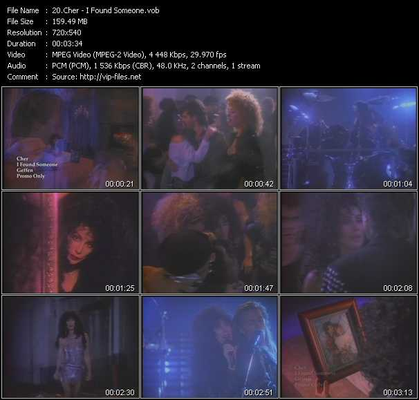 Screenshot of Music Video Cher - I Found Someone