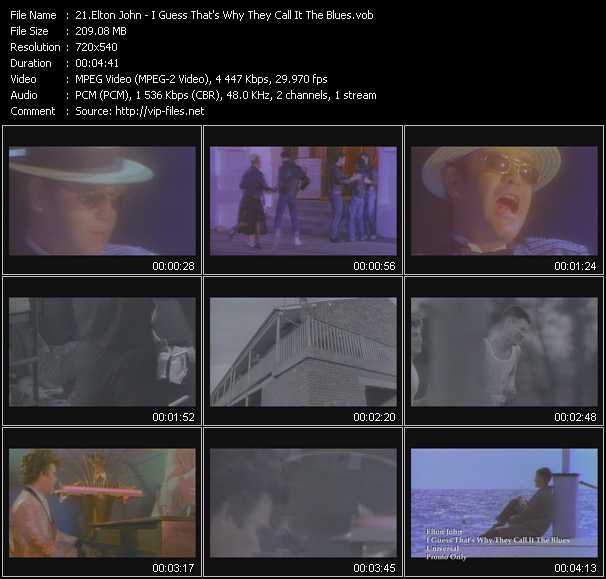 Screenshot of Music Video Elton John - I Guess That's Why They Call It The Blues
